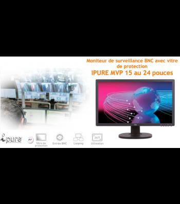Moniteur video surveillance BNC avec vitre de protection Ipure MVP 15 à 24 pouces