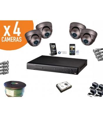 Kit video surveillance haute resolution iphone 4 caméras dômes + enregistreur numérique