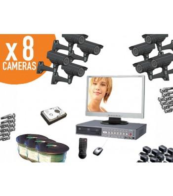 Pack complet vidéosurveillance 8 caméras infrarouge jour/nuit