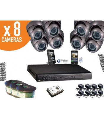 Kit video surveillance iphone 8 caméras domes Infrarouge étanches