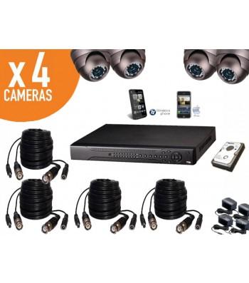 Kit videosurveillance enregistreur numérique + 4 caméras dômes