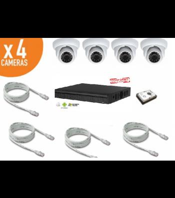 Kit de videosurveillance IP 1080p avec 4 caméras IP dômes infrarouges