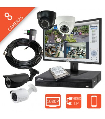 Kit video surveillance full HD 1080p 8 voies HD-CVI 2 Mégapixels pour commerce, maison, restaurant