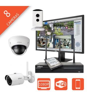 Kit videosurveillance IP 8 voies sans fil Wifi megapixel