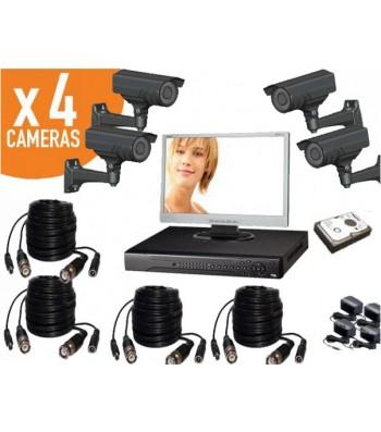 Kit videosurveillance 4 caméras haute résolution spécial extérieur
