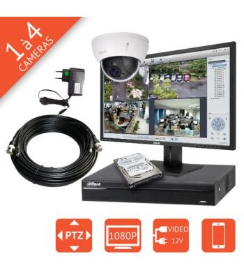 Kit video surveillance Full HD motorisé 1080p avec dôme PTZ HD-CVI 2Mégapixels DAHUA