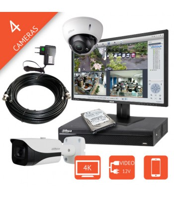 Kit video surveillance 4K / 8 megapixels HD-CVI pour pharmacie, commerce, maison