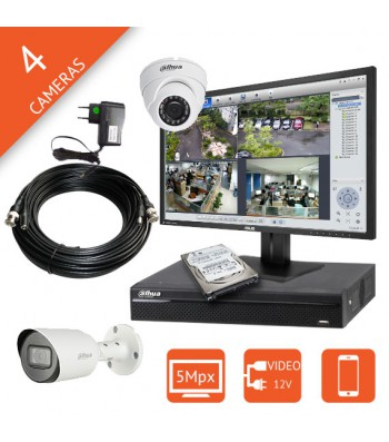 Kit video surveillance 5MP HDCVI pour pharmacie, commerce, maison