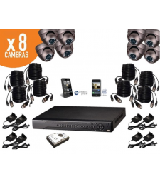 Kit de video surveillance 8 caméras dome infrarouge 800TVL + enregistreur DVR