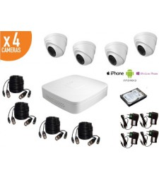 Kit de videosurveillance HD 720p 4 dômes infrarouges HDCVI