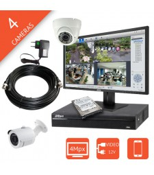 Kit video surveillance Super HD 4 caméras HD-CVI 4Mégapixels DAHUA