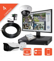Kit video surveillance HDCVI 4K / 8MP 4 caméras Ultra HD DAHUA