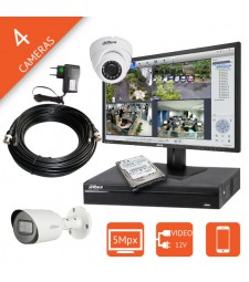 Kit video surveillance 5MP HDCVI 4 caméras 5 Mégapixels DAHUA