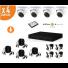 Kit de videosurveillance Full HD 1080p 4 dômes infrarouges HDCVI avec microphone