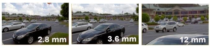 Comparaison angle de vue objectif camera 2.8mm 3.6mm et 12mm
