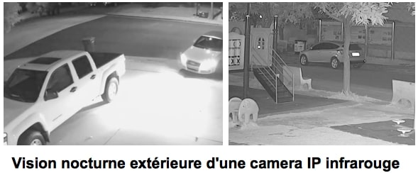 Camera IP infrarouge - vision de nuit exterieure