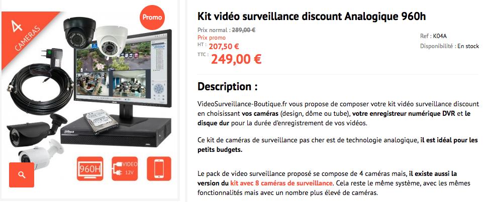 Kit de video surveillance complet pas cher 249€