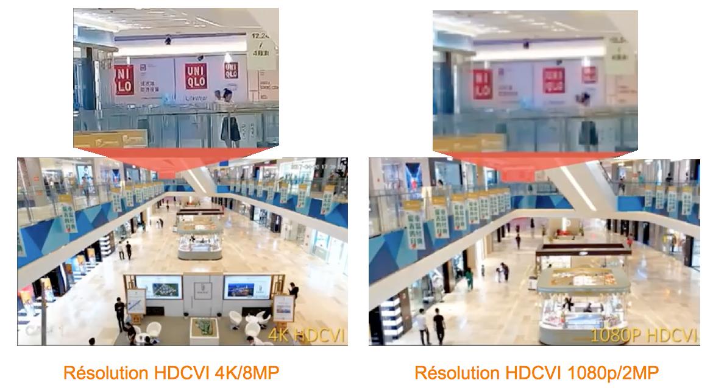 comparaison camera HDCVI 4K et 1080p