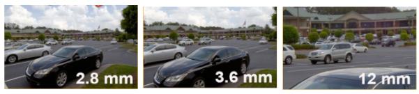 Comparaison angle de vue objectif caméra 2.8mm 3.6mm et 12mm