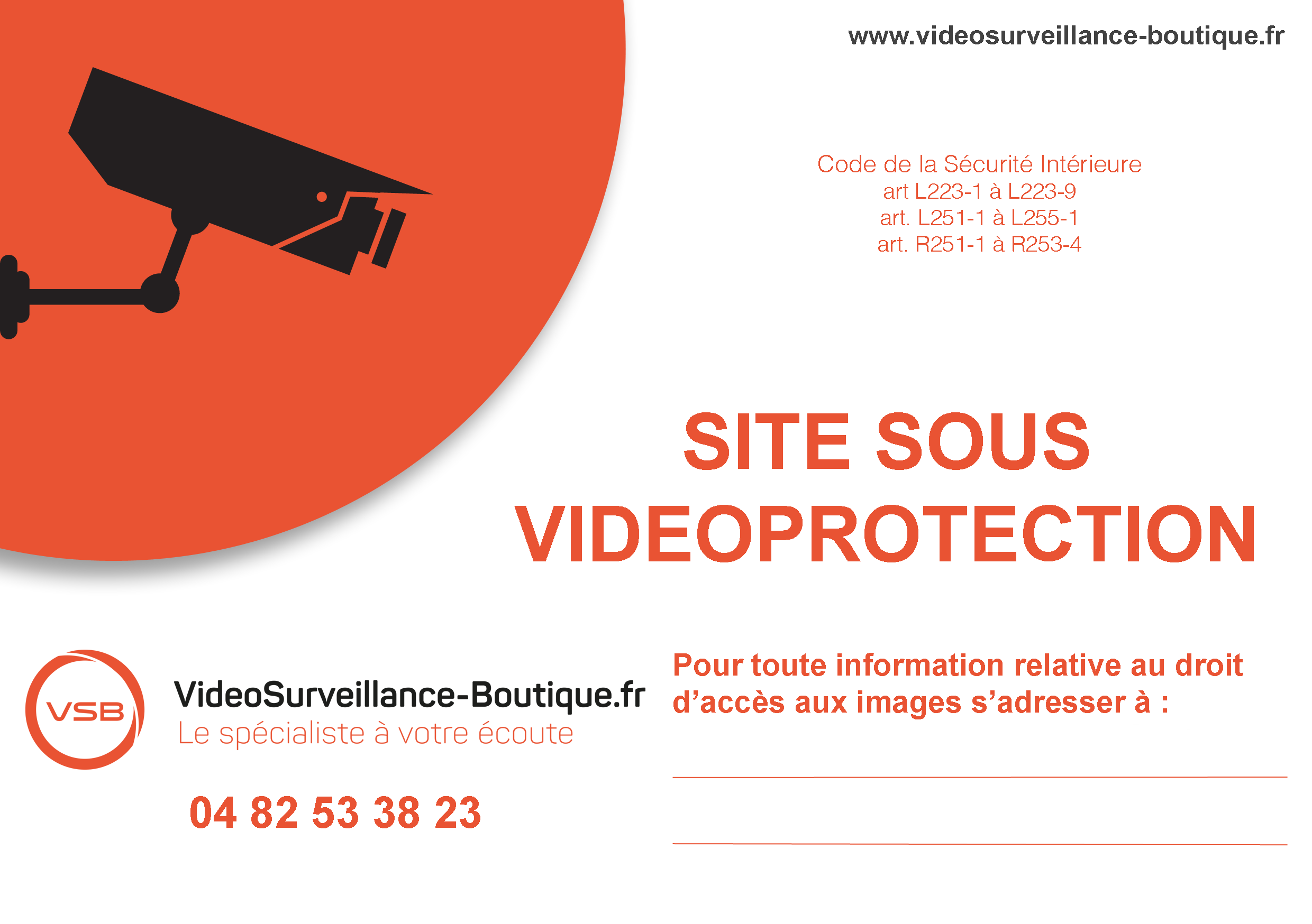 autocollant vid osurveillance gratuit affichage pour maison et commerce. Black Bedroom Furniture Sets. Home Design Ideas
